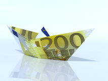 Ship model made out of Euro banknote. Ship model made out of Euro Stock Photos