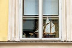 Ship model on the windowsill Stock Photography