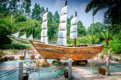 Ship models. A huge sailboat model in the park Royalty Free Stock Photos