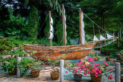 Ship models. A large sailing ship model in the park Royalty Free Stock Photos