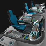 Ship modular equipment. Multipurpose control panel large-sized vessels. The foundation of the captain`s bridge. 3D illustration Royalty Free Stock Photos