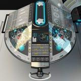 Ship modular equipment. Multipurpose control panel large-sized vessels. The foundation of the captain`s bridge. 3D illustration Royalty Free Stock Photo