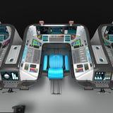 Ship modular equipment. Multipurpose control panel large-sized vessels. The foundation of the captain`s bridge. 3D illustration Royalty Free Stock Image
