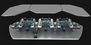 Ship modular equipment. Multipurpose control panel large-sized vessels. The foundation of the captain`s bridge. 3D illustration Stock Photography