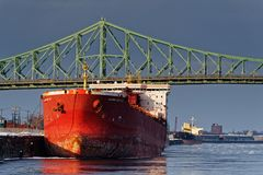 A ship in Montreal Harbour stock image