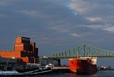 A ship in Montreal Harbour stock photography