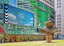 Ship monument at MRT subway entrance at One Raffles Place. Singapore, Singapore - March 1, 2016: Ship monument at MRT subway entrance at One Raffles Place in Royalty Free Stock Images