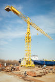 Ship and monumental crane in the shipyard Royalty Free Stock Photos