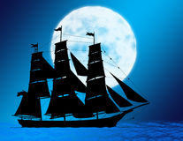 Ship Moon Background Stock Photography