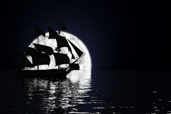 Ship in the Moonlight Stock Photography