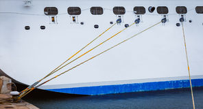 Ship moored in harbor Stock Image