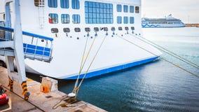 Ship moored in harbor Stock Photo