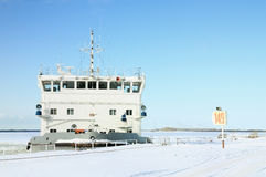 The ship at a mooring. In ice Stock Photography