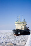 The ship at a mooring. In ice Stock Photo