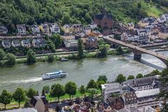 Ship on Moselle Riber in Cochem royalty free stock image