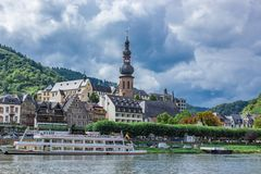 Ship on Moselle Riverbank in Cochem stock image
