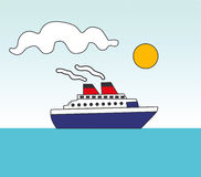 Ship moving. Vectorial illustration of ship at sea. EPS file available Stock Image