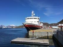 The ship MS VesterÃ¥len from the Norwegian Coastal Express/Hurtigruten in the city of Bo. Bodø, Nordland, Norway – April 25, 2016: The ship MS 'Vesterålen stock images