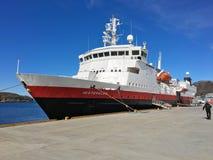 The ship MS VesterÃ¥len from the Norwegian Coastal Express/Hurtigruten in the city of Bo. Bodø, Nordland, Norway – April 25, 2016: The ship MS 'Vesterålen stock photos