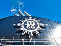 Ship MSC cruise company sign or logo. Copenhagen, Denmark - June 2016: ship MSC cruise company sign or logo royalty free stock images