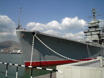 Ship-museum. Old battle-cruiser from the time of USSR, now there is a museum inside Stock Photo