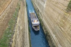 """A ship named """"Angela"""" on the Corinth Canal  in the Peloponnese, Greece, Europe. Royalty Free Stock Photo"""