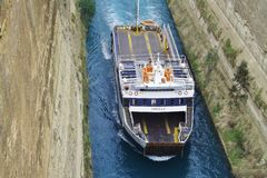 """A ship named """"Angela"""" on the Corinth Canal  in the Peloponnese, Greece, Europe. Stock Photography"""