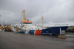 The ship named `Barend Biesheuvel` on a enforcement ship royalty free stock photos