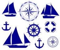 Ship. Nautical decoration vector illustration. Set. Anchor ship wheel. compass. sailboat silhouettes Stock Photography