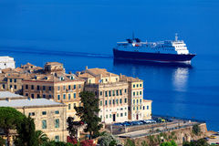 Ship near Corfu city, Greece Royalty Free Stock Photos