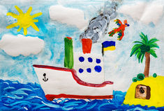 Ship near island. Child drawing. Royalty Free Stock Images