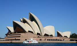 Ship near opera house Royalty Free Stock Photography