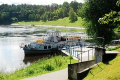 Ship in the Nemunas river Druskininkai city pier Royalty Free Stock Image