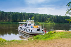 Ship in Nemunas. River, Lithuania Royalty Free Stock Photo