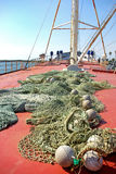 Ship and nets. Royalty Free Stock Images