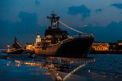 Ship on the Neva river in Saint-Petersburg stock images