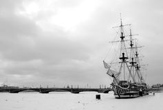 A ship on Neva in Saint Petersburg. Russia Royalty Free Stock Images