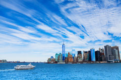 Ship and New York panorama Stock Images