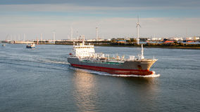 Ship in Nieuwe Waterweg canal. Royalty Free Stock Images