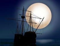 Ship at night. Pirate ship at night with big moon Stock Photography