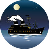 Ship at night. Llarge steamer floats at sea.Night, moon, stars.Smoke comes out of the tube steamer .An illustration is divided into layers.Additionally, black Royalty Free Stock Photo