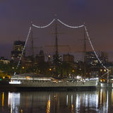 Ship by night in Buenos Aires Royalty Free Stock Image