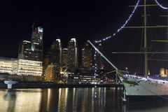 Ship by night in Buenos Aires. Dusk in Puerto Madero neighborgho Royalty Free Stock Image