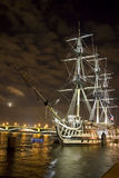 Ship in the night city Stock Image