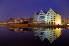 The ship at night in Gdansk Royalty Free Stock Image
