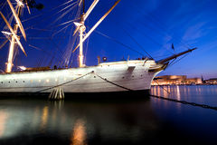Ship at night in Stockholm, Sweden Royalty Free Stock Images