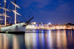 Ship at night in Stockholm, Sweden Stock Photo
