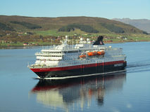 Ship norwegian hurtigruten cruising fjord Stock Photography