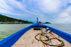 Ship Nose Front View Long tail boat at the sea Stock Photos