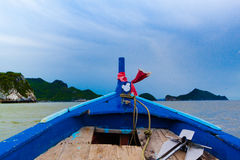 Ship Nose Front View Long tail boat at the sea Stock Photography